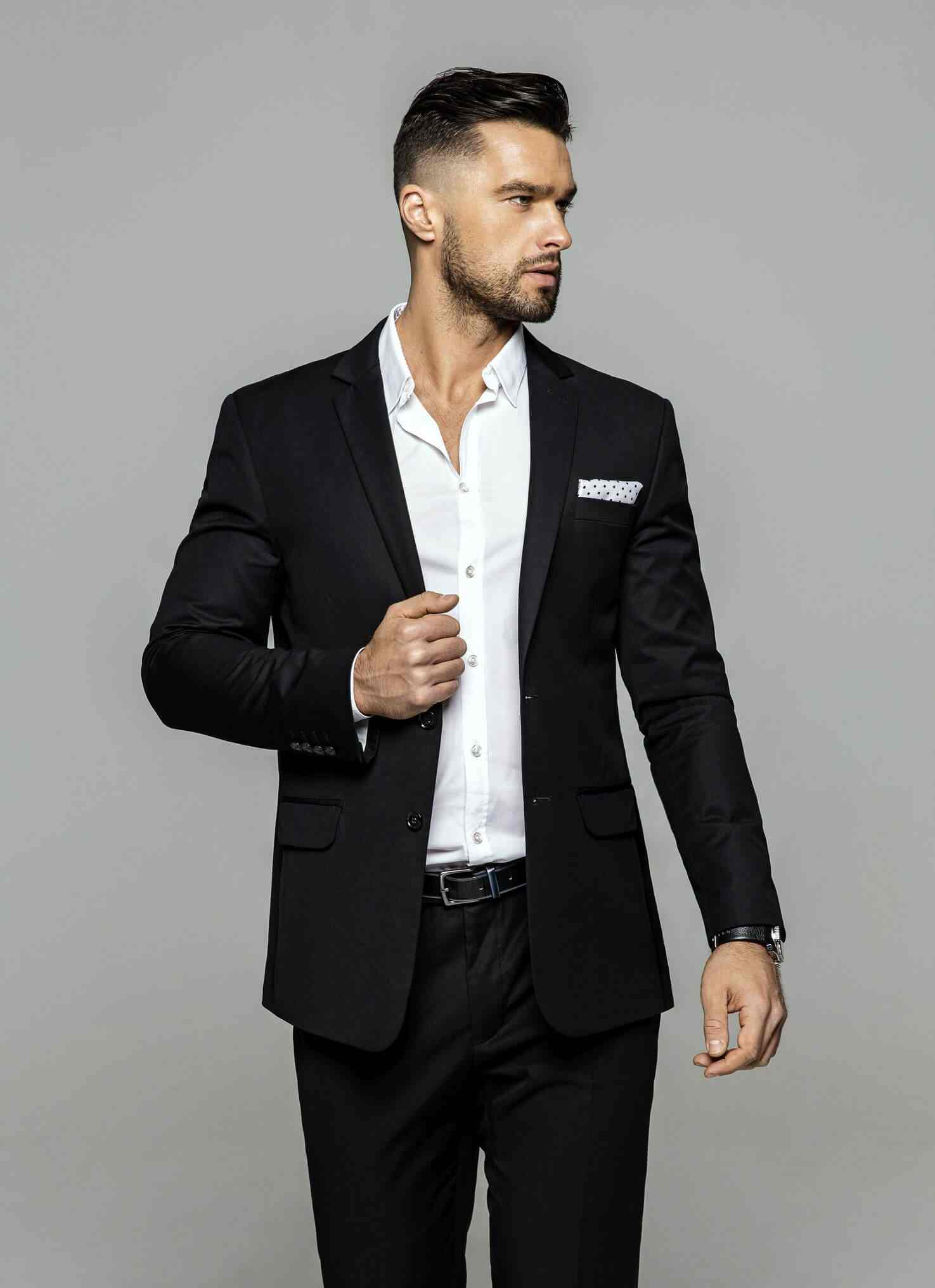 fashionable men's clothing on display by a male model